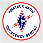amateur radio emergency services, circle with red border with red lightning bolt in center