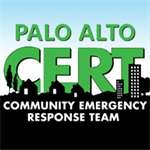 palo alto community emergency response team, blue sky above a dark city scape of house and building shapes